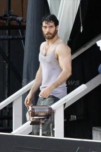 Scorched! Henry Cavill wears undershirt in Fire Rescue scene on set of Man of Steel